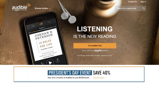 오디블은 대표적인 미국의 오디오북 서비스다. 미국은 오디오북이 전체 책 시장의 10%를 차지할 만큼 빠르게 성장하고 있다.